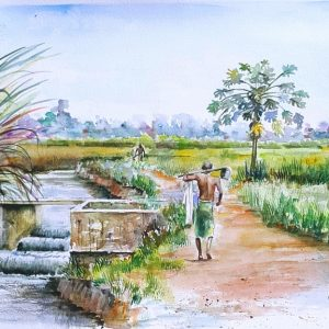 Online, Art, Art Gallery, Online Art Galley, Sri Lanka, Karunagama, Watercolor, Water Colour, Farmers, Paddy fileds, Sri lankan farmers, Anicuts, Old anicuts, Sri lankan canals.