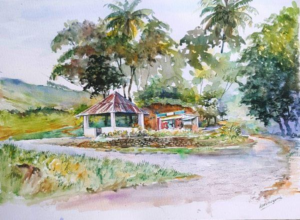 Online, Art, Art Gallery, Online Art Galley, Sri Lanka, Karunagama, Watercolor, Water Colour, Ambalama, Rural roads, Sri lankan village roads, Sri lanka ambalama,