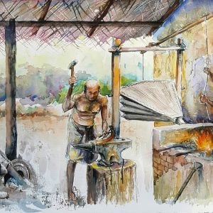 Online, Art, Art Gallery, Online Art Galley, Sri Lanka, Karunagama, Watercolor, Water Colour, Old blacksmith, Sri lanka blacksmith, Casting iron,