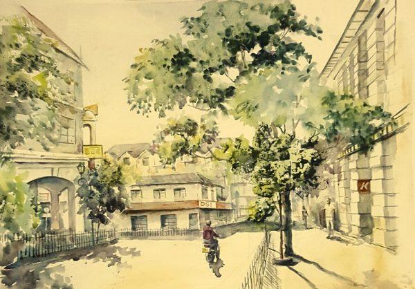 Online, Art, Art Gallery, Online Art Galley, Sri Lanka, Karunagama, Watercolor, Water Colour, Landscapes, Kandy landscapes, Streets in Kandy, Dalada veediya,