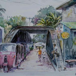 Online, Art, Art Gallery, Online Art Galley, Sri Lanka, Karunagama, Watercolor, Water Colour, Bridges, Old Bridges, Bridge Paintings, Pilimathalawa, Sri lanka paintings,
