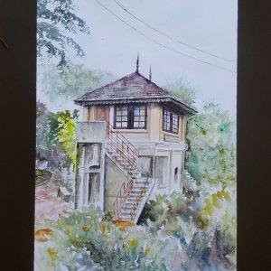 Online, Art, Art Gallery, Online Art Galley, Sri Lanka, Karunagama, Watercolor, Water Colour, , Sarath Karunagama, Peradeniya, Control Box, Sri Lanka Railways, Sri lanka paintings,